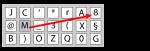 Een on-screen toetsenbord met karakters in (een andere) random volgorde